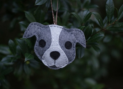 Free Pattern Felt Pit Bull Christmas Ornament Sewing