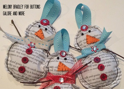 Tutorial Newsprint Fabric Snowman Ornaments Sewing