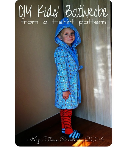 Tutorial: Make a child's bathrobe using a t-shirt pattern