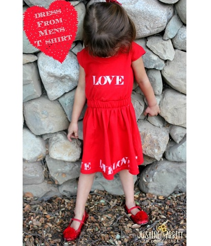 Tutorial: Little girl Valentine dress t-shirt refashion