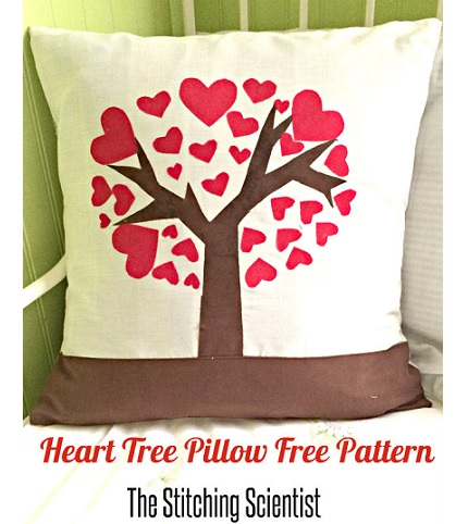 Tutorial: Heart tree Valentine throw pillow