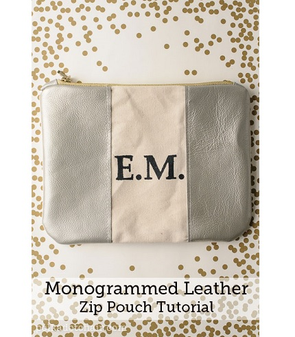 Tutorial Leather And Canvas Monogrammed Zippered Pouch