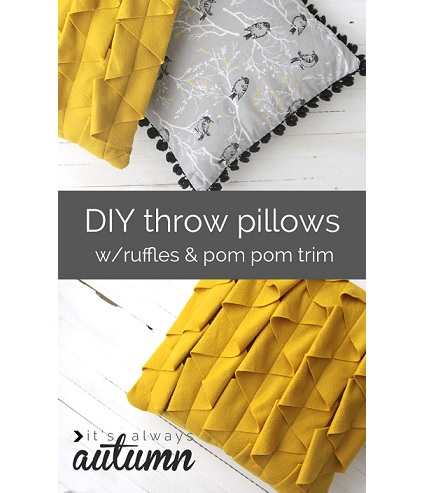 Tutorial: Pom pom trim and felt zig zag ruffle throw pillows