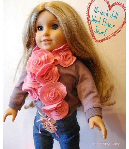 "Tutorial: Wool felt flower scarf for an 18"" doll"
