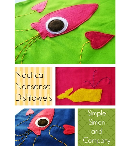 Tutorial: Squid and whale dishtowels