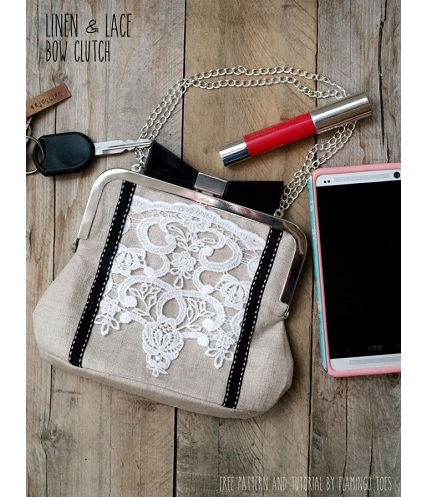 Tutorial: Linen and lace frame purse