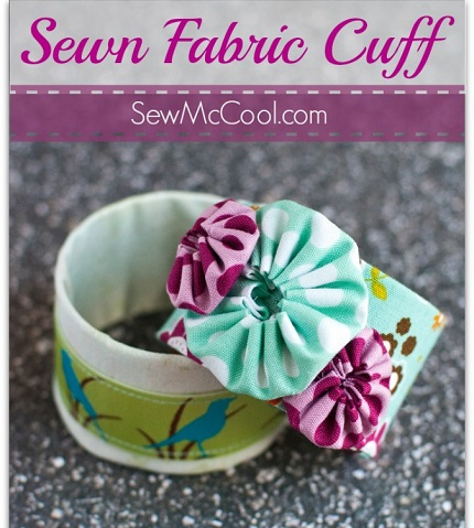 Tutorial: Fabric covered cuff bracelet with yo-yos