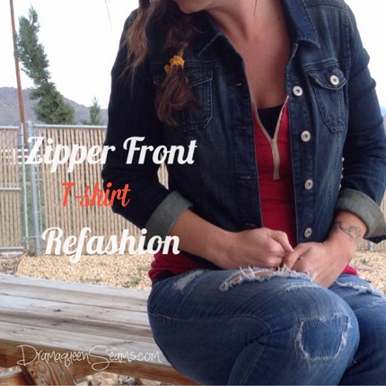 Tutorial: Zipper neck t-shirt refashion