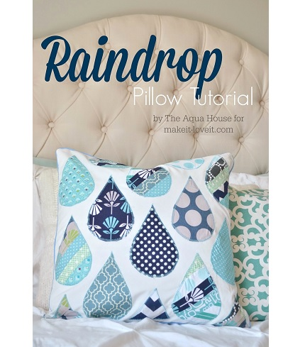 Throw Pillow Sewing Patterns : Tutorial: Raindrop applique throw pillow ? Sewing
