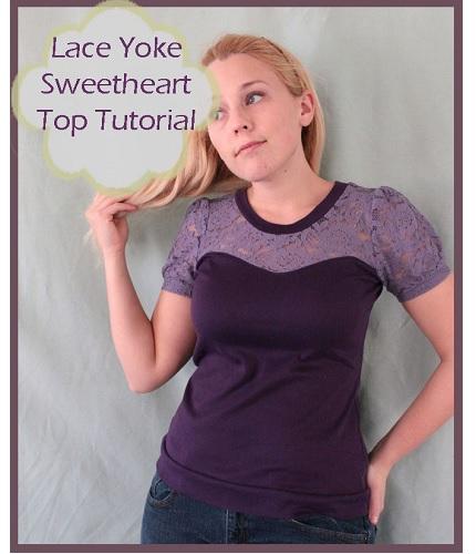 Tutorial: Lace yoke sweetheart tee