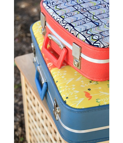 Tutorial: Revamp a vintage suitcase with pretty fabrics