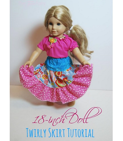 "Tutorial: Twirly skirt for an 18"" doll"