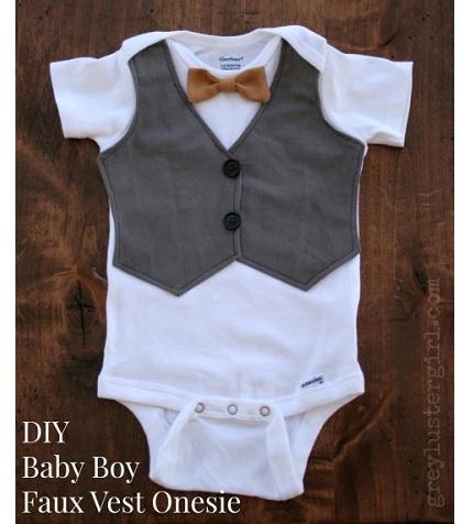 Tutorial: Baby boy faux vest onesie