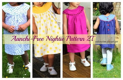 Free pattern: Aanchi toddler round yoke nightgown or dress