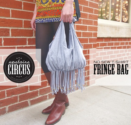 Tutorial: No-sew fringed t-shirt bag