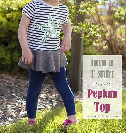 Tutorial: Too small t-shirt into a peplum top