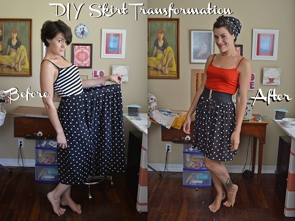 Tutorial: Size down a too-big skirt and make a matching head scarf
