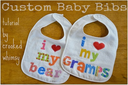 Tutorial: Scrappy appliqued message bibs