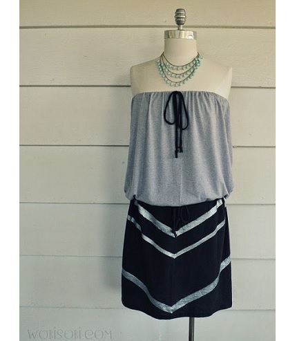 Tutorial: DIY strapless chevron t-shirt dress