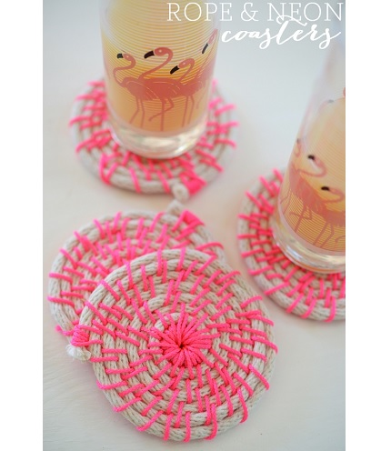 Tutorial: Rope and neon cord coasters