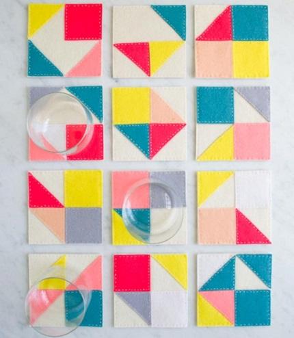 Tutorial: Hand stitched Modular Felt Coasters