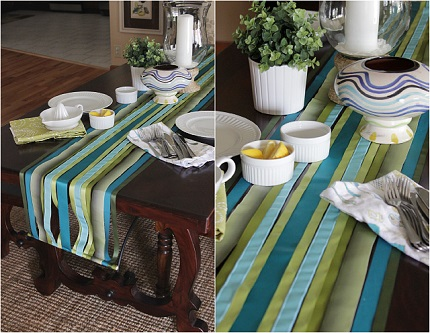 tutorial ribbon streamer table runner sewing. Black Bedroom Furniture Sets. Home Design Ideas