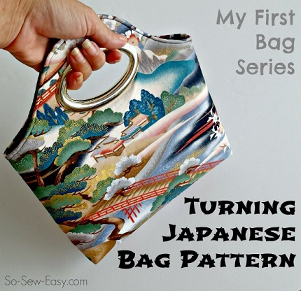 Free pattern: Turning Japanese bag with cutout metal handles