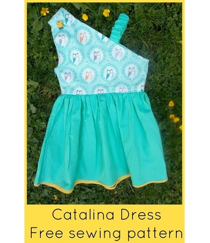 Free pattern: Catalina girls one shoulder dress