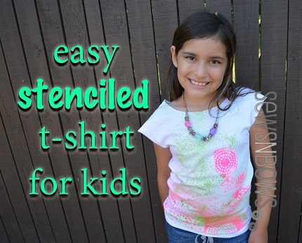 Tutorial: Splatter painted and stenciled t-shirt refashion for kids and tweens