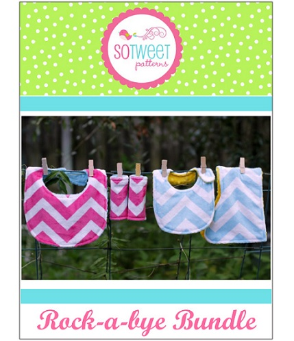 Free pattern: Rock-a-Bye baby bib and burp cloth set