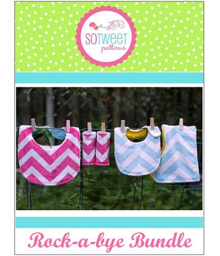 Free pattern: Rock-a-Bye baby bib and burp cloth set