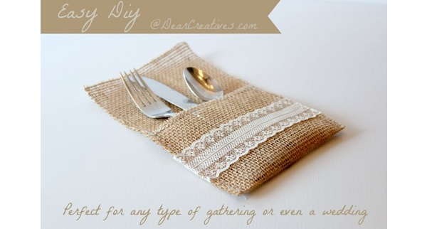 Tutorial: Burlap and lace utensil holders