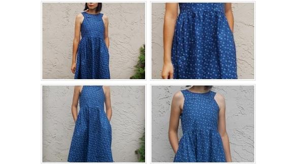 Free pattern: Ayza round yoke dress for women