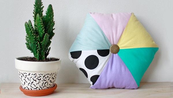 Tutorial: Hexagon color blocked pillow
