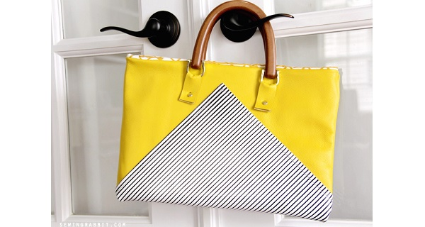 Tutorial: Yellow and stripes leather bag