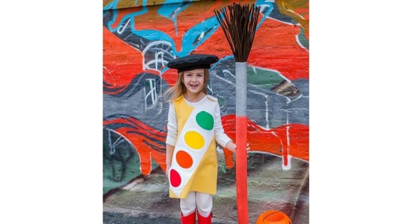 Tutorial: Kids' watercolor paint box Halloween costume