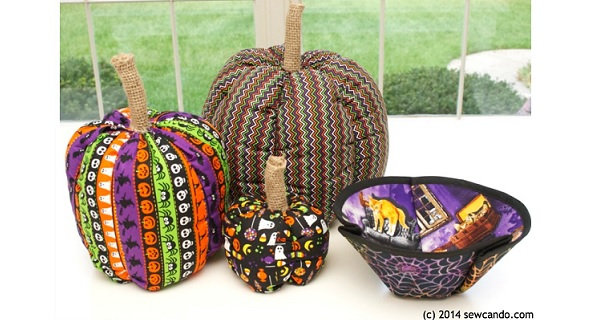 Tutorial: Fabric pumpkins & a molded fabric candy bowl