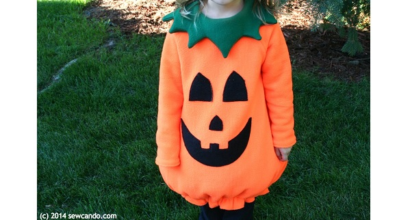 Tutorial: Fleece pumpkin Halloween costume