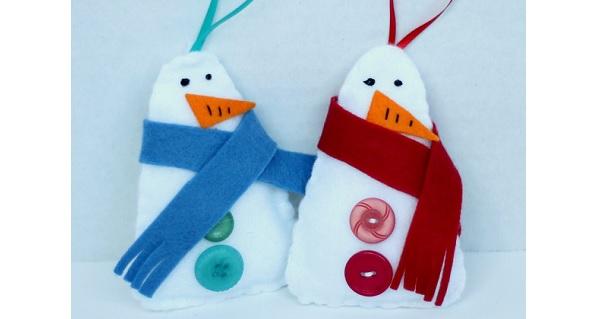 Free pattern: Felt snowman ornament