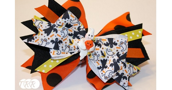 Tutorial: Halloween stacked ribbon bow