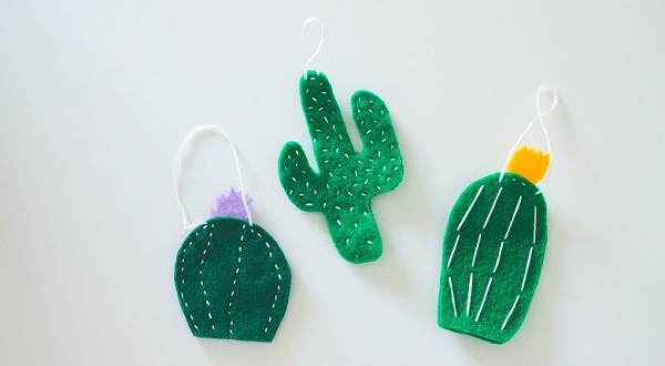 Tutorial Cactus Christmas Ornaments Sewing