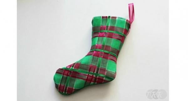 Tutorial: Woven ribbon Christmas stocking