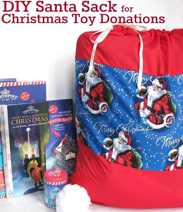 Donating Christmas Gifts: Tutorial: Drawstring Santa Sack For Christmas Toy