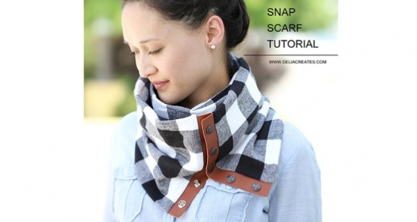 Tutorial: Leather and flannel snap scarf