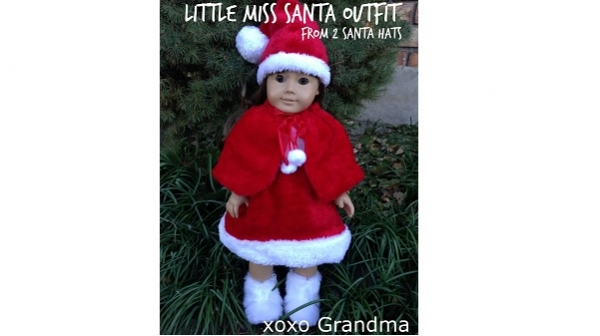 Tutorial: Doll's Santa outfit from 2 dollar store stockings