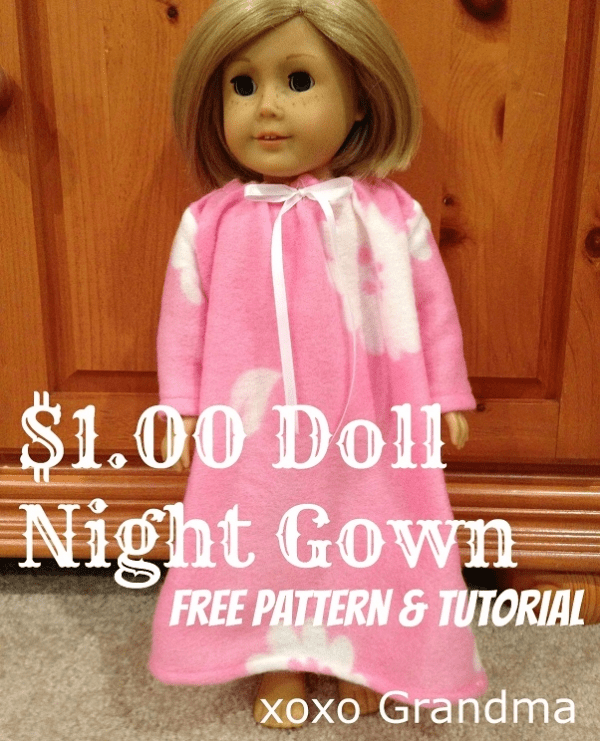 Free pattern: Doll nightgown, make one from a dollar store blanket ...