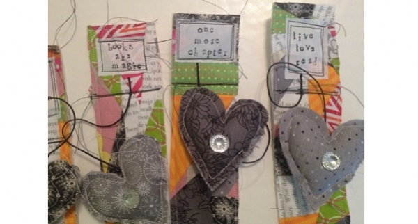 Tutorial: Scrappy patchwork bookmarks with a heart charm
