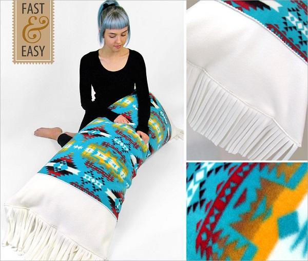 Tutorial: Fringed fleece body pillow