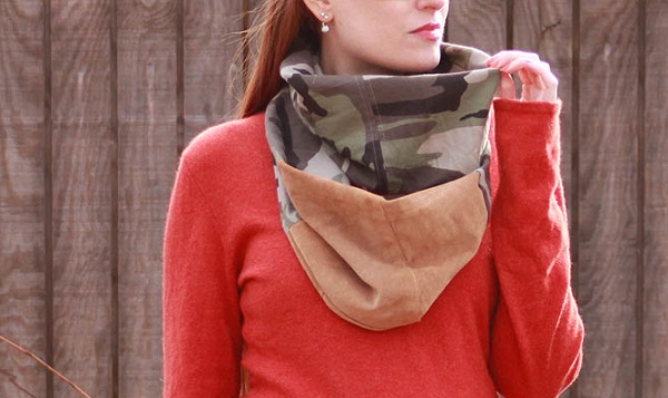 Tutorial: Camo and suede infinity scarf