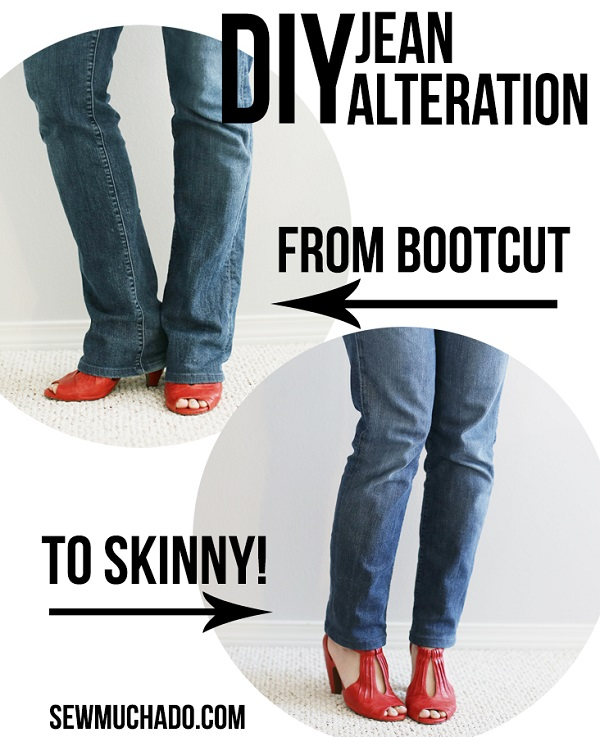 Tutorial: Reshape your bootcut jeans to skinnies